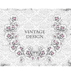 Grunge damask background with floral frame vector