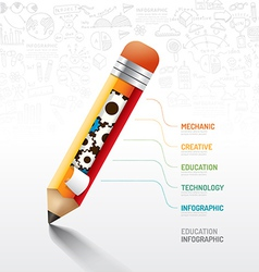 Infographic pencil with gear doodles line drawing vector image