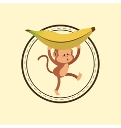 Jungle monkey cartoon emblem vector