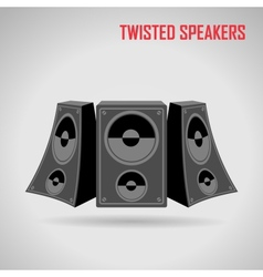Music twisted speakers on gray vector