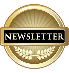 Newsletter gold label vector