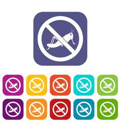 No locust sign icons set vector