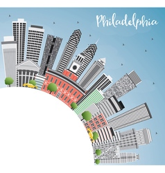 Philadelphia skyline with gray buildings vector