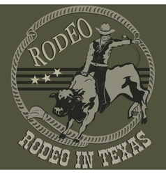 Rodeo cowboy riding a wild bull silhouette vector