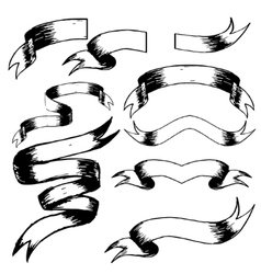 Set of hand drawn blank vintage ribbons vector image