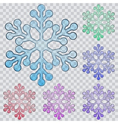 Set of transparent snowflakes vector image vector image