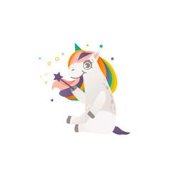 sitting unicorn character with magic wand vector image vector image