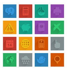 Square media icons set 3 vector