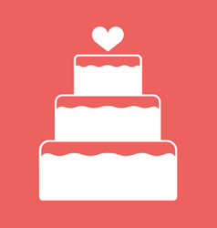 Stacked wedding cake dessert with heart topper vector