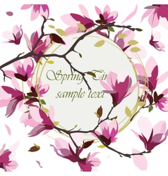 Vintage spring watercolor wreath vector