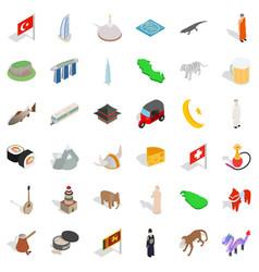 World architecture icons set isometric style vector
