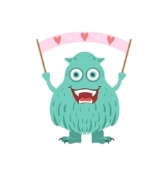 Furry turquoise friendly monster with banner vector