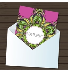 Card with colorful round mandala vector image
