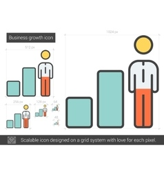 Business growth line icon vector