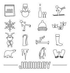 January month theme set of simple outline icons vector