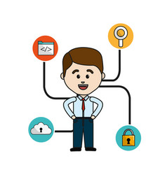 happy man with internet technology icons vector image