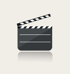 Modern movie clapper icon with reflection on vector