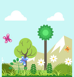 Summer of four seasons nature landscape flat vector