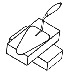 Brick and trowel vector