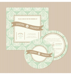 Vintage wedding set vector