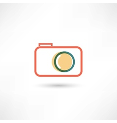Red camera line icon vector image
