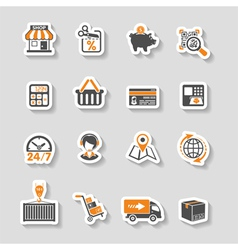 Internet shopping and delivery sticker icon set vector