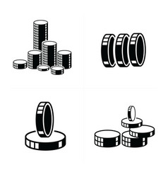 3d heap coins icons vector