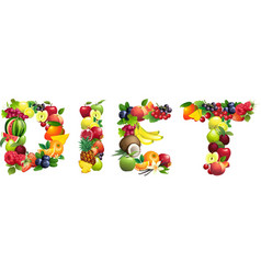 Word diet composed of different fruits with leaves vector
