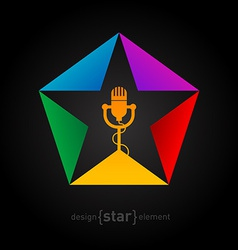 Music logo template - star with microphone design vector