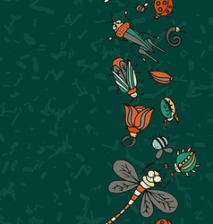 Cute cartoon insect border pattern summer concept vector