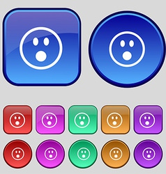 Shocked face smiley icon sign a set of twelve vector