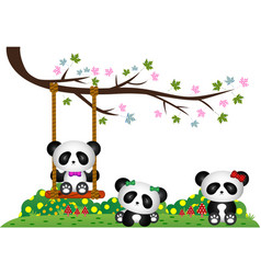Panda playing under tree branch vector
