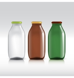 Realistic bottles of glass package for milk vector image