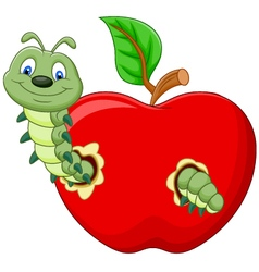 Caterpillars eat the apple vector