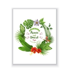 Save the date card with tropical wreath vector