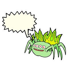 Cartoon spooky spider with speech bubble vector