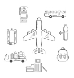 Airport service and aviation sketch icons vector