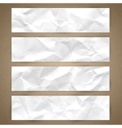 Set of horizontal banners with crumpled paper vector