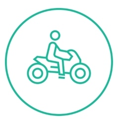 Man riding motorcycle line icon vector