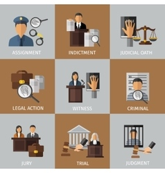 Judicial system colored icon set vector