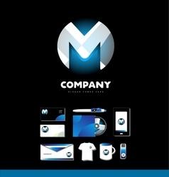 Alphabet letter m sphere logo icon set vector