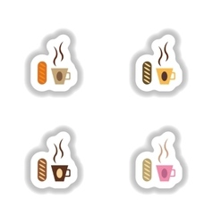 Set stylish paper stickers Cup of coffee and a bun vector image