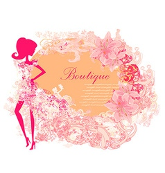 Abstract beautiful floral woman silhouette card vector