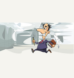 cartoon happy man in suit running in the office vector image vector image