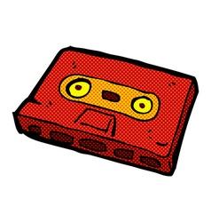 Comic cartoon cassette tape vector