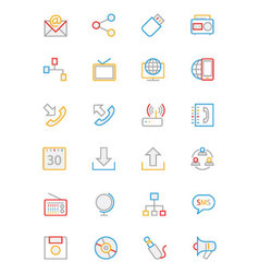 Communication colored outline icons 2 vector