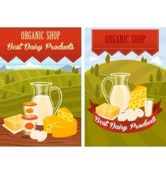 Dairy products on wooden table vector image