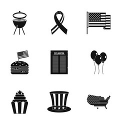 Fourth of july day icon set simple style vector
