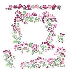 frame elements floral pattern vector image vector image