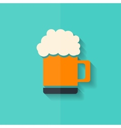 Glass of beer web icon Flat design vector image